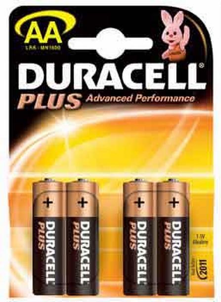 Duracell AA LR6 MN1500 bl/4 Plus alkaline Batterijen